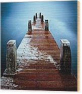 Water On The Jetty Wood Print
