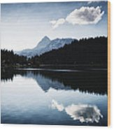 Water Reflection Blue Black And White Wood Print