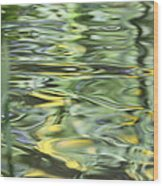 Water Reflection Green And Yellow Wood Print by Dan Sproul