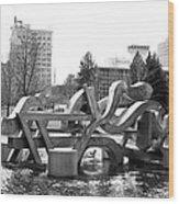 Water Sculpture In Spokane Wood Print by Carol Groenen