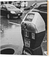 water soaked coin and credit card parking meter on the streets of downtown Vancouver BC Canada Wood Print by Joe Fox