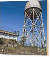 Water Tower Alcatraz Island Wood Print