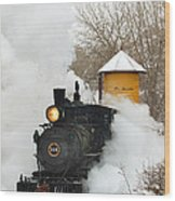 Water Tower Behind The Steam Wood Print by Ken Smith