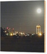 Water Tower Town At Night Wood Print