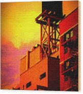 Water Tower With Orange Sunset Wood Print