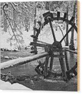 Water Wheel In Snow Wood Print