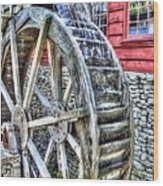 Water Wheel On Mill Wood Print
