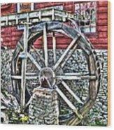 Water Wheel On Mill V2 Wood Print