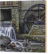 Water Wheel Plimouth Grist Mill At Jenney Pond Wood Print