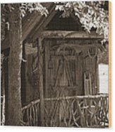 Water Wheel Shed I Sepia Wood Print