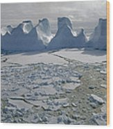 Water Worn Iceberg In Sea Ice Lazarev Wood Print