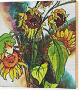 Sunflowers On The Rise Wood Print