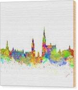 Watercolor Art Print Of The Skyline Of Antwerp In Belgium Wood Print