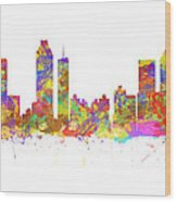 Watercolor Art Print Of The Skyline Of Atlanta Georgia Usa Wood Print