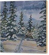 Original Watercolor - Colorado Winter Pines Wood Print