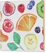 Watercolor Exotic Fruit Berry Slice Set Wood Print