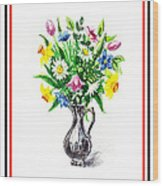 Watercolor Flowers Bouquet In Metal Pitcher Impressionism Wood Print