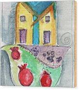 Watercolor Hamsa  Wood Print by Linda Woods