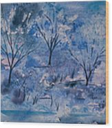 Watercolor - Icy Winter Landscape Wood Print