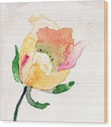 Watercolor Illustration With Beautiful Flower  Wood Print