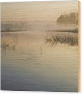 Watercolor Landscape Of Lake In Mist With Sun Glow At Sunrise Wood Print