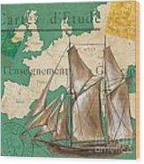 Watercolor Map 1 Wood Print by Debbie DeWitt