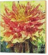 Watercolor Of Dreamy Dahlia Wood Print