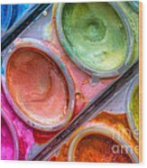Watercolor Ovals One Wood Print
