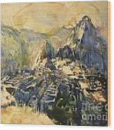 Watercolor Painting Machu Picchu Peru Wood Print