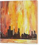 Watercolor Painting Of Skycrapers Of Downtown Chicago As Viewed  Wood Print
