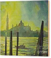Watercolor Painting Of The Dome Of San Giorgio Maggiore Church I Wood Print