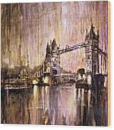 Watercolor Painting Of Tower Bridge London England Wood Print