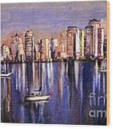 Watercolor Painting Of Vancouver Skyline Wood Print