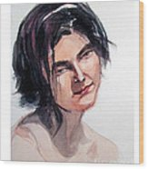 Watercolor Portrait Of A Young Pensive Woman With Headband Wood Print