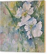 Watercolor Wild Flowers Wood Print