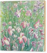 Watercolour Of Pink Iris's In A Green Field Wood Print