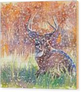Watercolour Painting Of A Stag In The Snow Wood Print