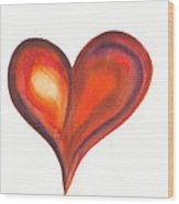 Watercolour Painting Of Colorful Abstract Heart Wood Print