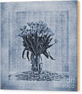 Watercolour Tulips In Blue Wood Print