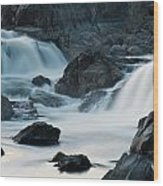Waterfall After Dusk Wood Print