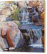 Waterfall Among Rocks Wood Print