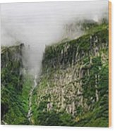 Waterfall And Clouds Wood Print