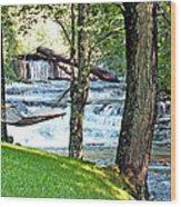 Waterfall And Hammock In Summer 3 Wood Print