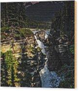 Waterfall And Mountain In Jasper Wood Print