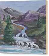 Purple Mountain River Wood Print
