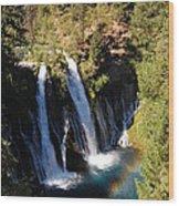 Waterfall And Rainbow Wood Print