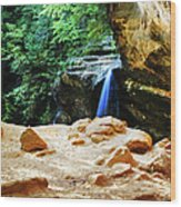 Waterfall At Cliff Side Wood Print