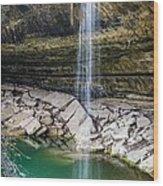 Waterfall At Hamilton Pool Wood Print by David Morefield