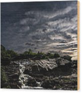 Waterfall At Sunrise Wood Print by Bob Orsillo