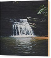 Waterfall At Table Rock National Forest Wood Print